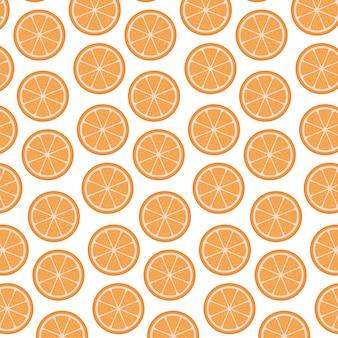 オレンジ色の果物のパターンと白い背景スライスベクトル図