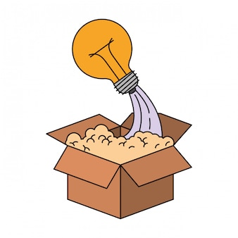 Красочный силуэт картонной коробки и лампочки