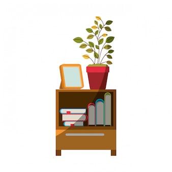 本と植木鉢の輪郭と半分の影のない装飾的なキャビネットテーブルのカラフルなグラフィック