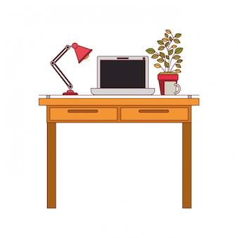 ラップトップコンピューターとランプと濃い赤の線の輪郭と植木鉢の職場オフィスインテリアのカラフルなグラフィック
