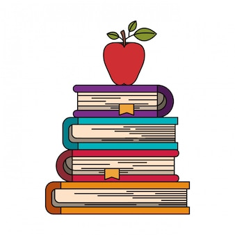 リンゴ果実と本のスタックのカラフルなイメージ