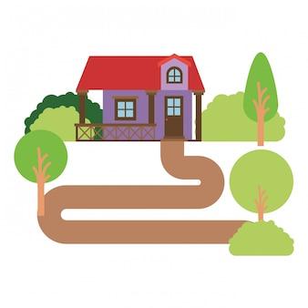 手すりと屋根裏部屋の自然の風景ファサード家と白い背景