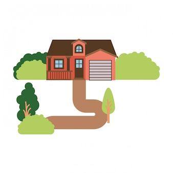 ガレージと屋根裏部屋の自然風景ファサードハウスと白い背景