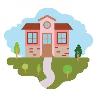 自然の風景と小さな家の正面のカラフルなシーンと白い背景