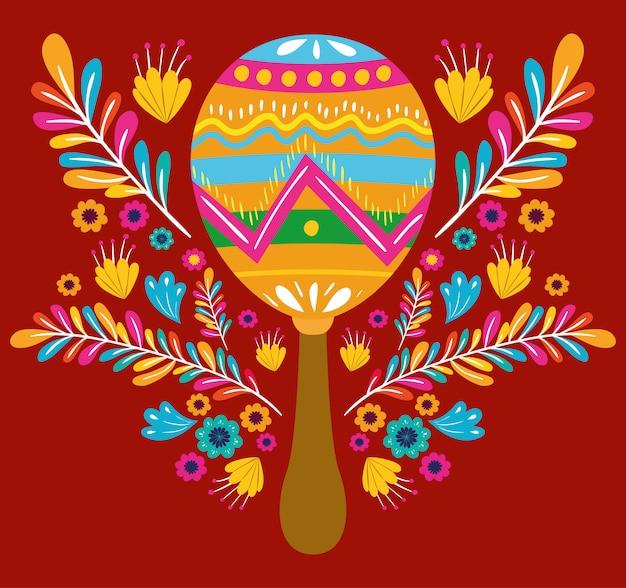 Синко де майо открытка с цветами и маракасы