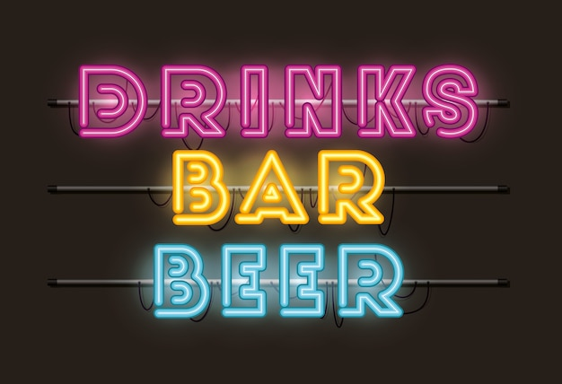Пивные напитки барные шрифты неоновые огни
