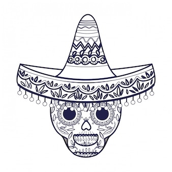 メキシコの頭蓋骨の帽子分離アイコン