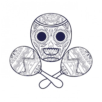 Мексиканский череп с маракой