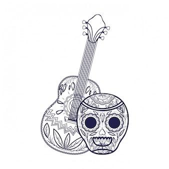 Мексиканский череп с иконой гитары