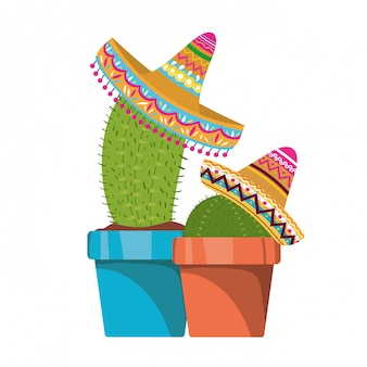 サボテンポットとメキシコの帽子のアイコン