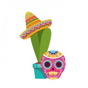 サボテンとメキシコの帽子のアイコンが付いた頭蓋骨