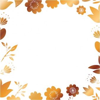 花とフレームと黄金の葉