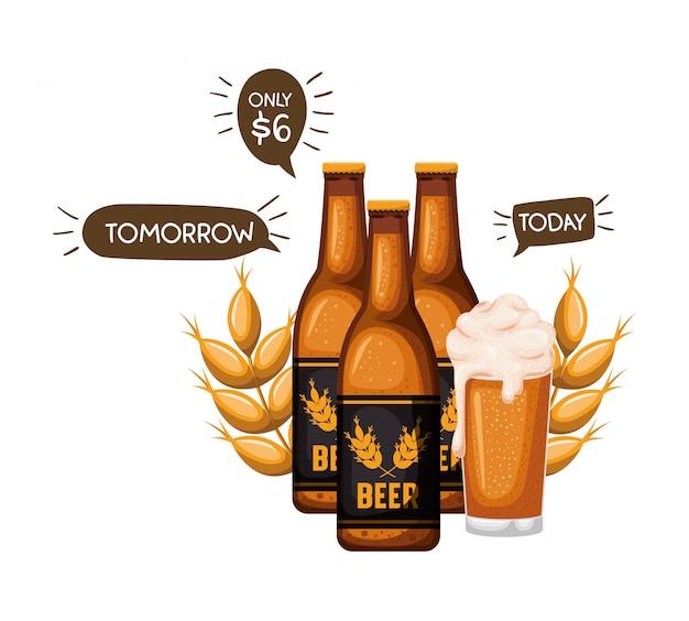 ビールの瓶とガラスの分離アイコン