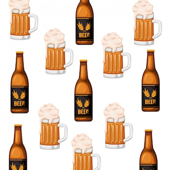 Узор бутылка пива и значок стекла