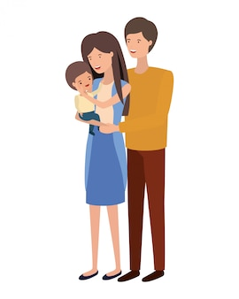 息子のアバター文字を持つ両親のカップル