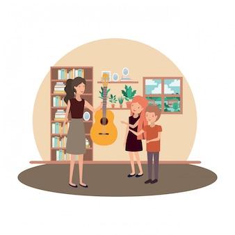 子供とギターのキャラクターを持つ女性