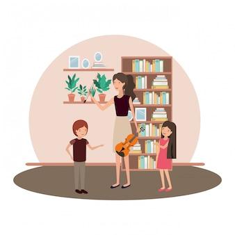 子供とバイオリンの文字を持つ女性
