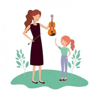 娘とヴァイオリンのアバター文字を持つ女性