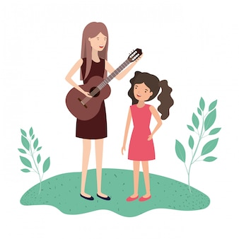 娘とギターのアバターのキャラクターを持つ女性