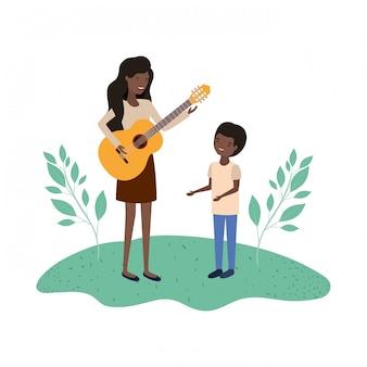 息子とギターのアバターのキャラクターを持つ女性