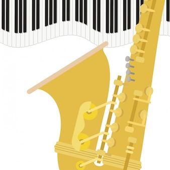 Саксофон музыкальный инструмент шаблон
