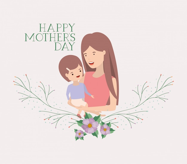 Материнская открытка с короной матери и сына