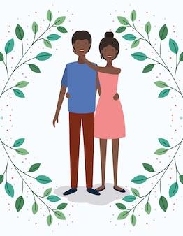 黒人愛好家のカップルとクラウンの文字を葉します。