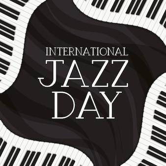 Джазовый день постер с фортепианной клавиатурой