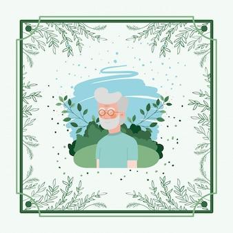 ハーブフレームを持つ老人カード