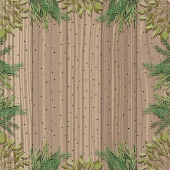 葉と木製の背景を持つフレーム