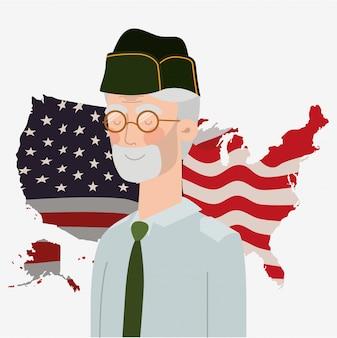 Памятная карточка с ветераном и флагом сша на карте