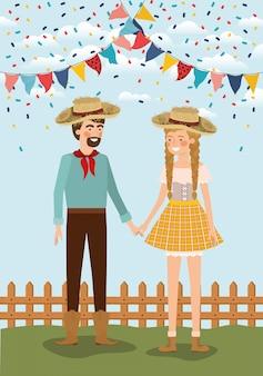 花輪とフェンスを祝う農民カップル