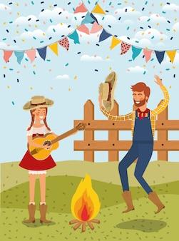 Фермеры пара празднует с гирляндами и забором