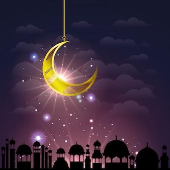 Рамадан карим городской пейзаж с золотой луной висит