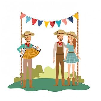 楽器を持つ人々農民のグループ