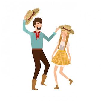 農民カップルの麦わら帽子と踊る