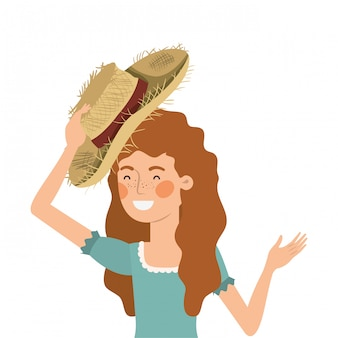 麦わら帽子を持つ農家の女性