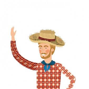 麦わら帽子を持つ男農家