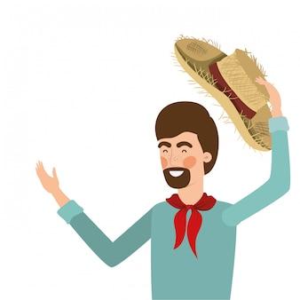 Фермер человек с соломенной шляпе