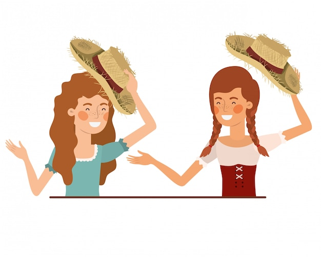 麦わら帽子と話している農民女性