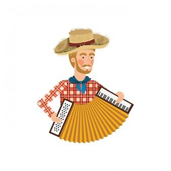 楽器を持つ農夫男