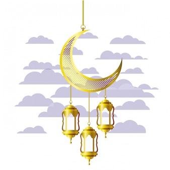 Рамадан карим фонарь и луна висит