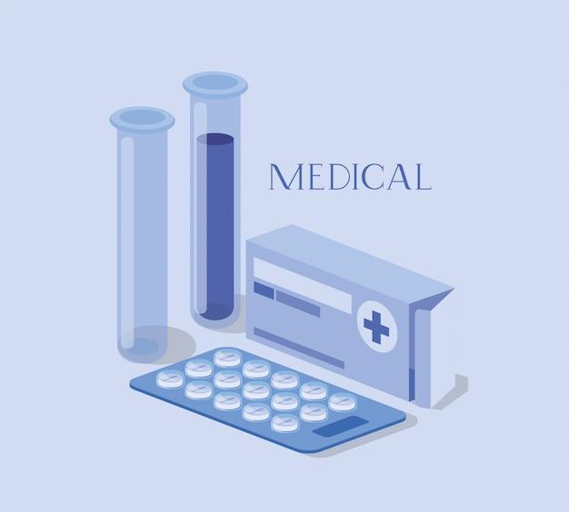 Медицинские трубки тесты лекарств с аптечкой