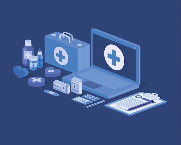 Служба телемедицины для ноутбуков с аптечкой и лекарствами