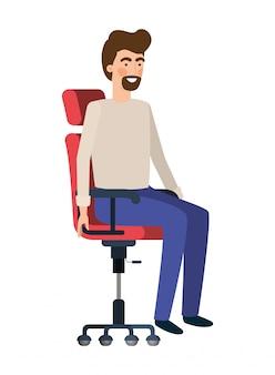 オフィスの椅子のアバターのキャラクターに座っている男