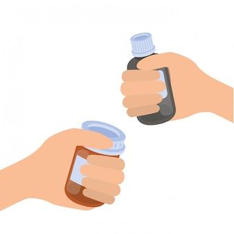 分離された薬薬と手