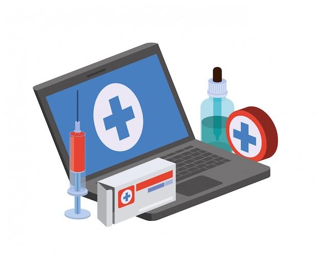 分離された薬とラップトップ