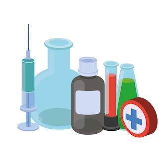 分離された薬と実験器具