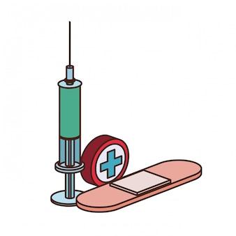 分離された液体と注射器