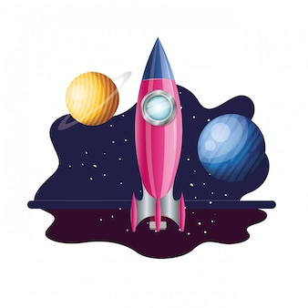 分離された太陽系の惑星と飛んでいるロケット